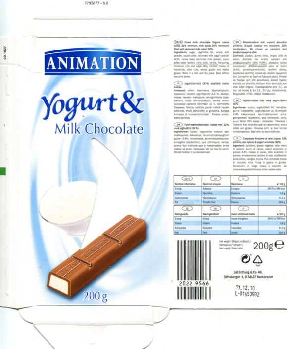 Animation, finest milk chocolate filled with skimmed milk yogurt, 200g, 13.12.2009, Lidl Stiftung&Co.KG, D-74167 Neckarsulm, Germany