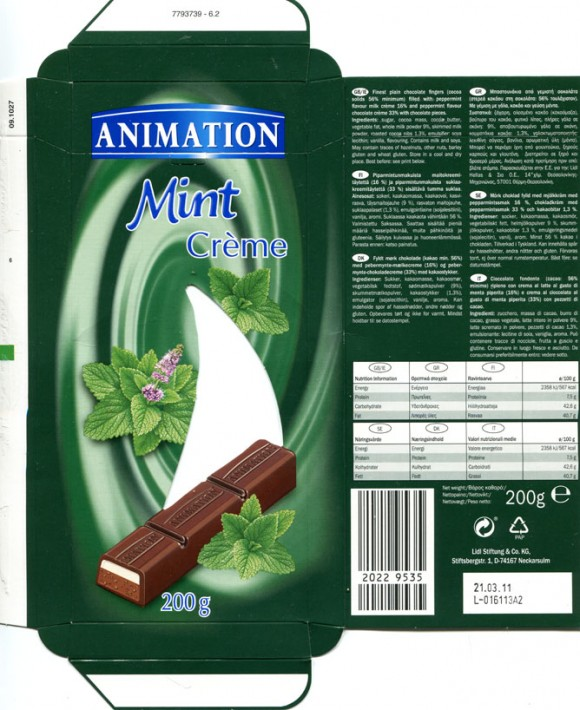 Animation, finest plain chocolate filled with peppermint flavour milk creme and peppermint flavour chocolate creme with chocolate pieces, 200g, 21.03.2010, Lidl Stiftung&Co.KG, D-74167 Neckarsulm, Germany