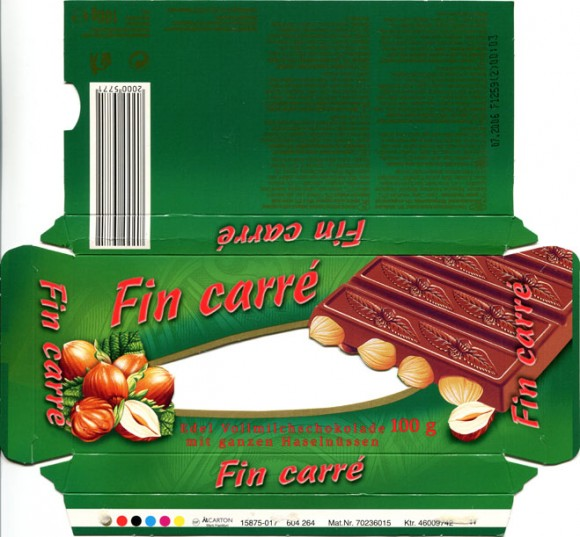 FinCarre, milk chocolate with whole nuts, 100g, 07.2005, Lidl Stiftung&Co.KG, D-74167 Neckarsulm, Germany
