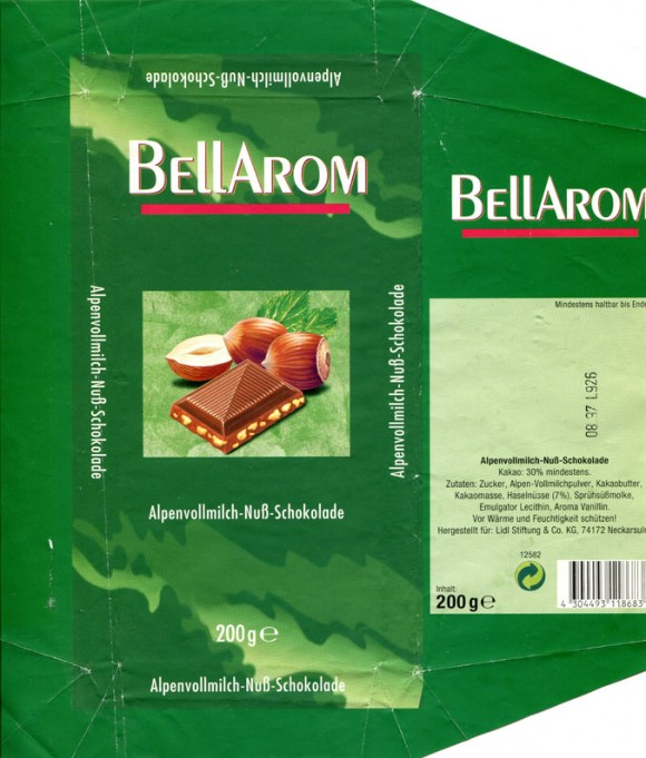 Bellarom, milk chocolate with nuts, 200g, 08.1996, Lidl Stiftung&Co.KG, D-74167 Neckarsulm, Germany