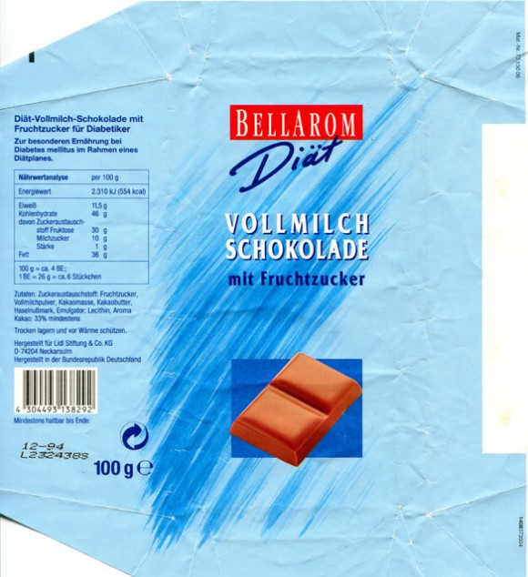 Bellarom, diat, milk chocolate, 100g, 12.1993, Lidl Stiftung&Co.KG, D-74167 Neckarsulm, Germany