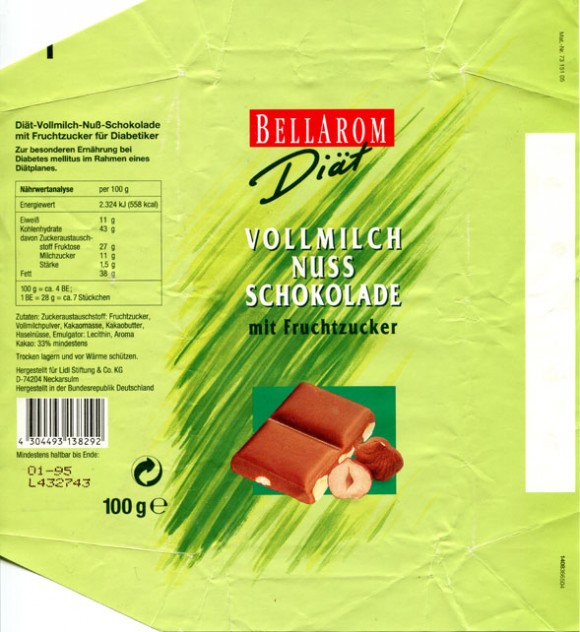 Bellarom, diat, milk chocolate with nuts, 100g, 01.1994, Lidl Stiftung&Co.KG, D-74167 Neckarsulm, Germany