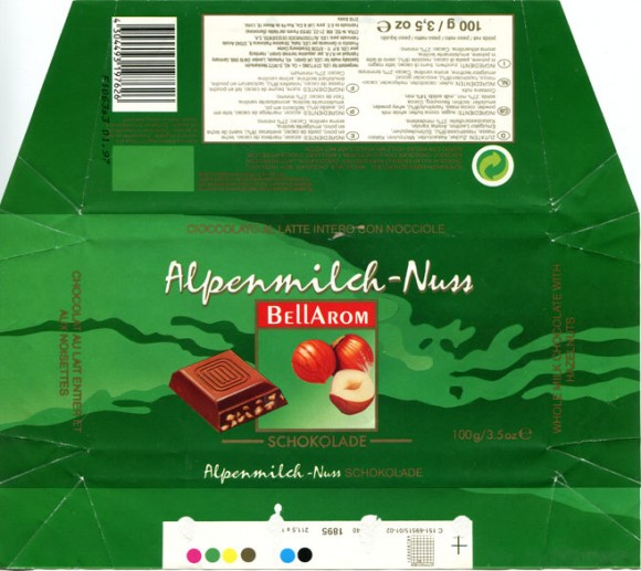 Bellarom, whole milk chocolate with hazelnuts, 100g, 01.1996, Lidl Stiftung&Co.KG, D-74167 Neckarsulm, Germany