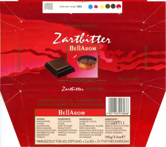 Bellarom, plain chocolate, 100g, 18.2010, Lidl Stiftung&Co.KG, D-74167 Neckarsulm, Germany