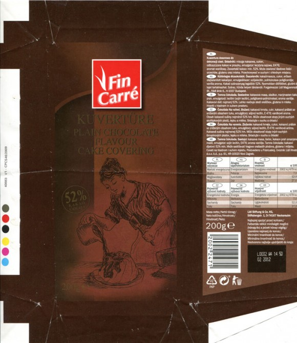 Fin Carre, plain chocolate flavour cake covering, 200g, 02.2011, Lidl Stiftung&Co.KG, D-74167 Neckarsulm, Germany
