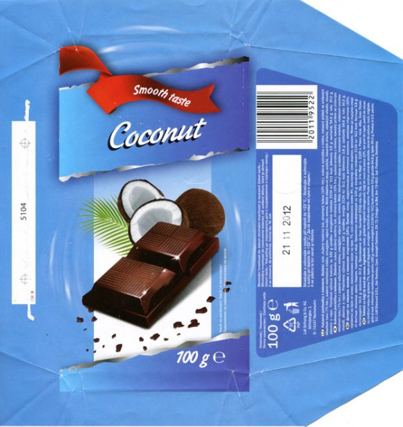 Smooth taste, Coconut, chocolate tablet with coconut, 100g, 21.11.2011, Lidl Stiftung&Co.KG, Neckarsulm, Germany