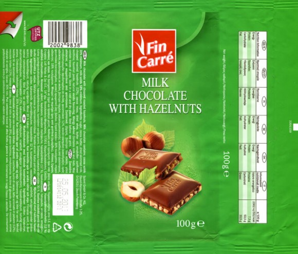 Fin Carre, milk chocolate with hazelnuts, 100g, 25.05.2012, Lidl Stiftung&Co.KG, Neckarsulm, Germany