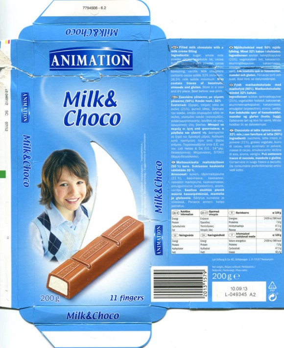Animation, filled milk chocolate with milk cream filling, 200g, 10.09.2012, Lidl Stiftung&Co.KG, Neckarsulm, Germany