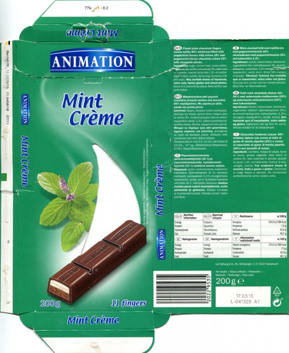 Animation, finest plain chocolate fingers filled with peppermint flavour milk creme and peppermint flavour chocolate creme with chocolate pieces, 200g, 17.03.2012, Lidl Stiftung&Co.KG, Neckarsulm, Germany