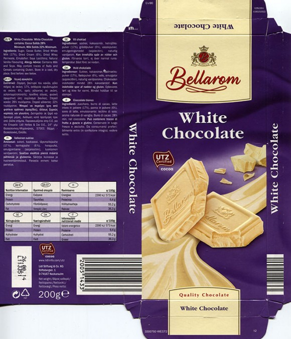 Bellarom, white chocolate, 200g, 26.08.2013, Lidl Stiftung&Co.KG, Neckarsulm, Germany