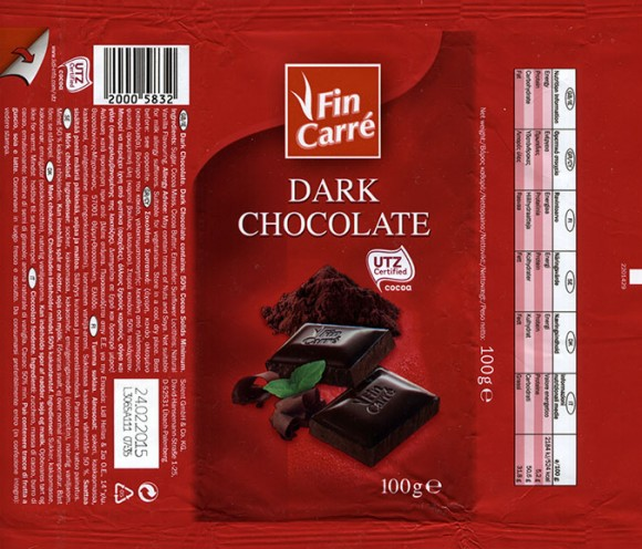 Fin Carre, dark chocolate, 100g, 24.02.2014, Lidl Stiftung&Co.KG, Neckarsulm, Germany