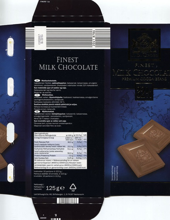 Finest milk chocolate, 125g, 13.02.2017, Lidl Stiftung&Co.KG, Neckarsulm, Germany