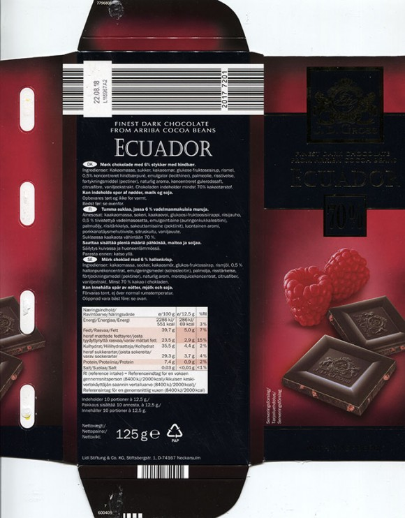 Finest dark chocolate from Arriba Cocoa Beans, Ecuador, 125g, 22.08.2016, Lidl Stiftung&Co.KG, Neckarsulm, Germany