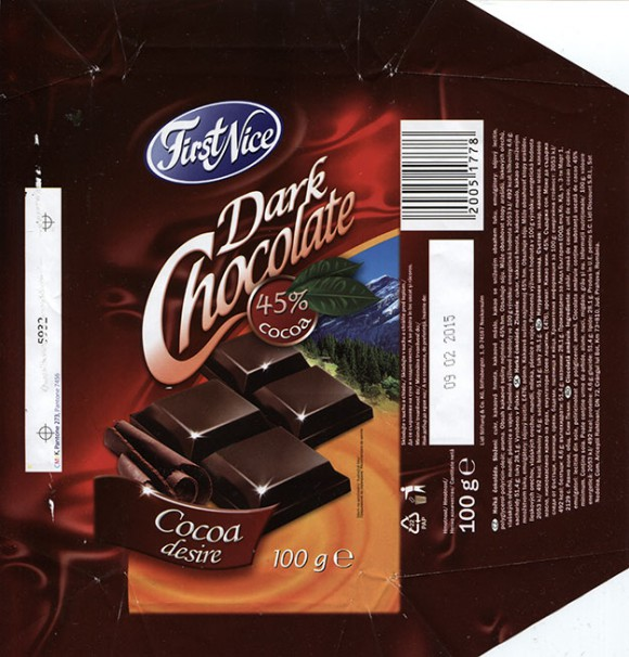 FirstNice, dark chocolate, 100g, 09.02.2014, Lidl Stiftung&Co.KG, Neckarsulm, Germany
