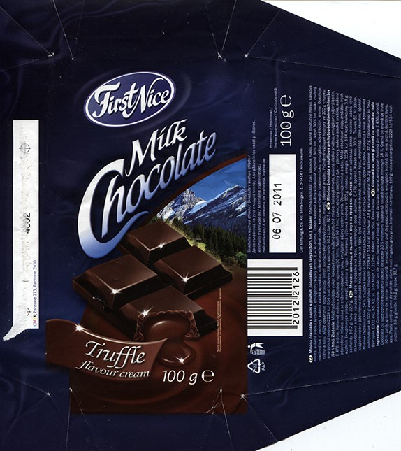 First Nice, milk chocolate with truffle flavour cream filled, 100g, 06.07.2010, Lidl Stiftung&Co.KG, Neckarsulm, Germany