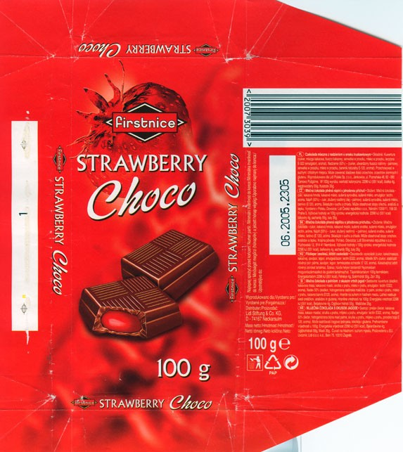 Firstnice, milk chocolate with strawberry, 100g, 06.2004