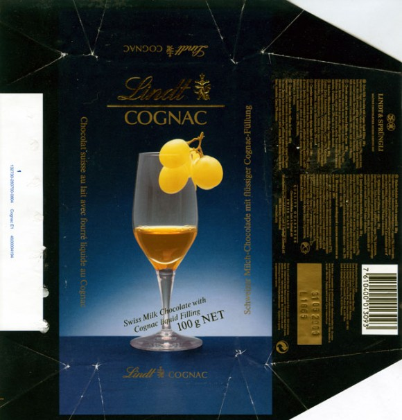 Cognac,swiss milk chocolate with cognac liquid filling, 100g, 31.05.2005, Lindt & Sprungli, Kilchberg, Switzerland