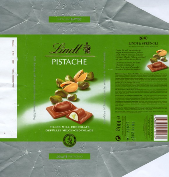 Milk chocolate with whole pistachio nuts in almond filling, 100g, 30.11.2006, Lindt & Sprungli, Kilchberg, Switzerland