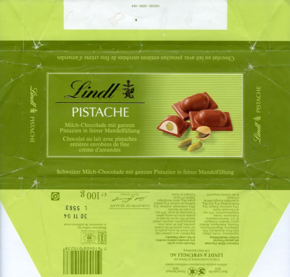 Pistache, milk chocolate with pranline filling and pistachios, 100g, 30.11.1993, Lindt & Sprungli, Kilchberg, Switzerland