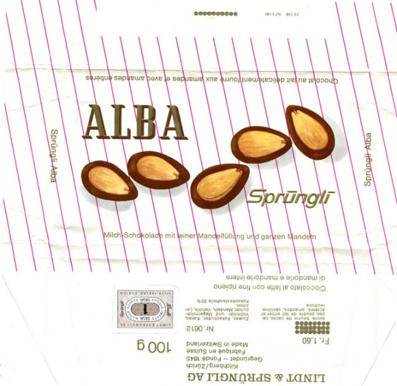 Alba, milk chocolate with nuts, 100g, about 1970, Lindt & Sprungli, Kilchberg, Switzerland