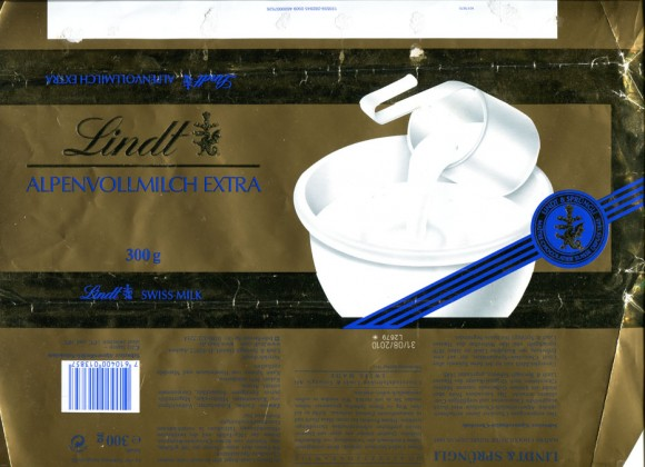 Milk chocolate, 300g, 31.08.2009, Lindt & Sprungli AG, Switzerland