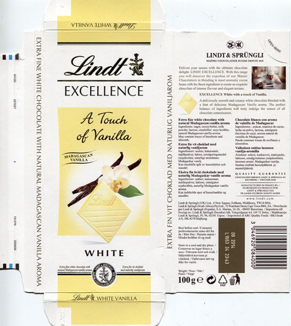 Lindt Excellence, A touch of Vanilla, extra fine white chocolate with natural Madagascan vanilla aroma, 100g, 08.2013, Lindt & Sprungli AG, Kilchberg, Switzerland