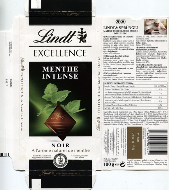 Fine dark chocolate with an intense taste of mint, 100g, 02.2016, Lindt & Sprungli AG, Kilchberg, Switzerland
