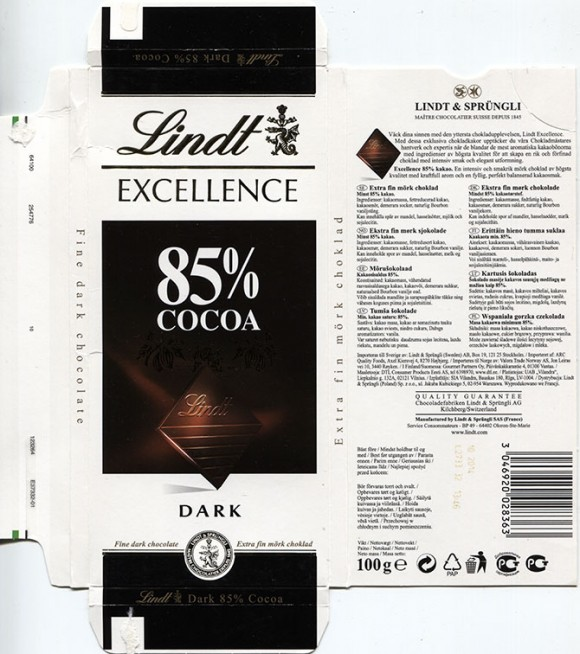 Excellence dark chocozlte 85% cocoa, 100g, 10.2013, Lindt & Sprungli S.A France., Oloron-Sainte-Marie, France