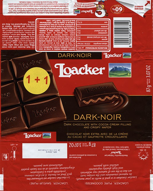 Dark chocolate with cocoa cream filling and crispy wafer, 87g, 08.2014, Loacker, South Tyrol, Italy