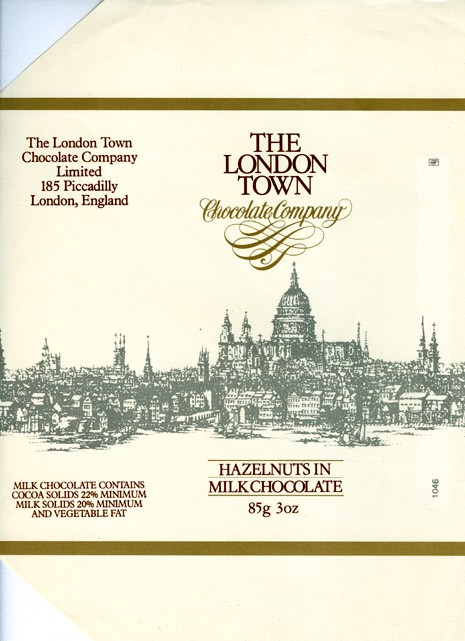 The London Town, milk chocolate with hazelnuts, 85g, 1980, The London Town chocolate company, London, England