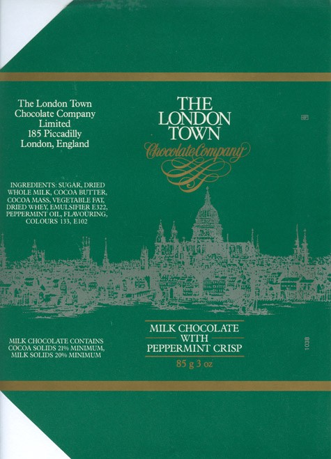 The London Town, milk chocolate with peppermint crisp, 85g, 1980, The London Town chocolate company, London, England