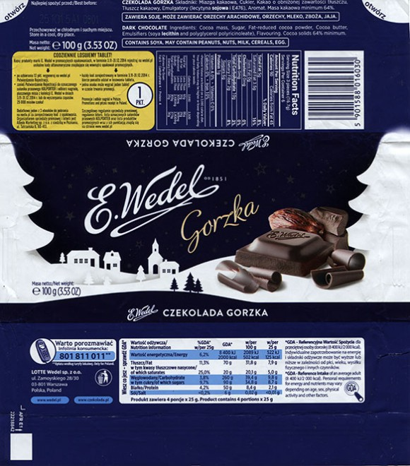 Dark chocolate, 100g, 25.10.2014, Lotte Wedel sp.z o.o., Warszawa, Poland