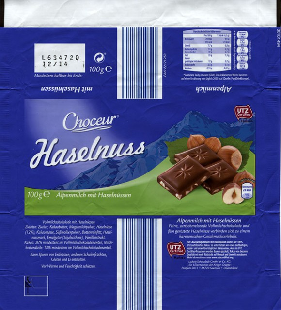 Choceur, Haselnuss, milk chocolate with hazelnuts, 100g, 12.2013, Ludwig Schocolade GmbH&Co.KG, Saarlouis, Germany
