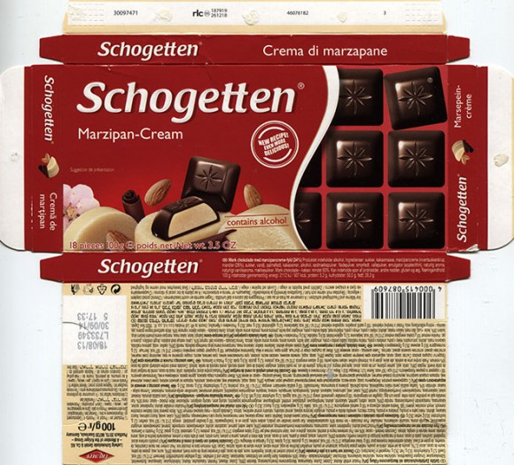 Schogetten, dark chocolate filled with marzipan cream filling, 100g, 18.08.2013, Ludwig Schocolade GmbH&Co.KG, Saarlouis, Germany