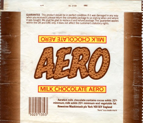Aero, aerated milk chocolate, 1990, Rowentree Mackintosh plc York, England