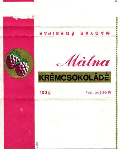 Malna, milk chocolate with raspberry cream filling, 100g, about 1970, Magyar Edisipar, Hungary