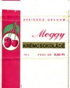 Meggy, milk chocolate with cherry cream filling, 100g, about 1970, Magyar Edisipar, Hungary