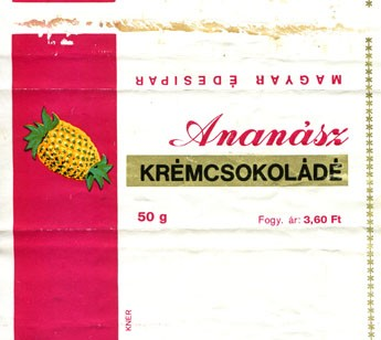 Ananas cream chocolate, 50g, about 1970, Magyar Edisipar, Hungary