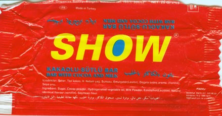 Show, bar with cocoa and milk, 25g,09.1992
