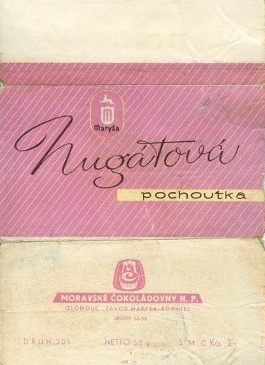 Nugatova pochoutka, milk chocolate, 50g, 1960, Marysa, Rohatec, Czech Republic