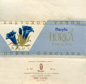 Horka cokolada, dark chocolate, 25g, 1960, Marysa, Rohatec, Czech Republic