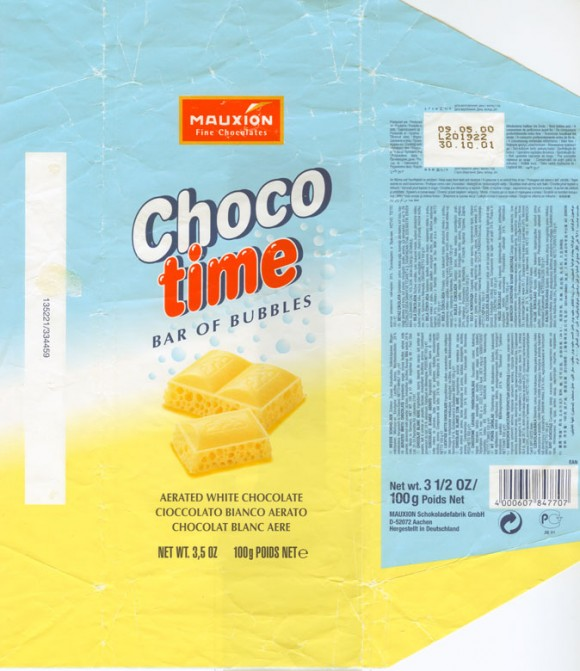 Choco time , bar of bubbles, aerated white chocolate , 100g, 11.08.1998