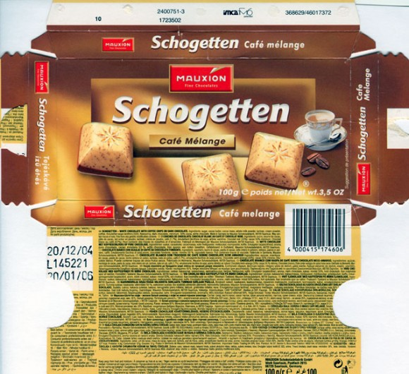 Schogetten, white chocolate with coffee on dark chocolate, 100g, 20.12.2004, Mauxion, Saarlouis, Germany