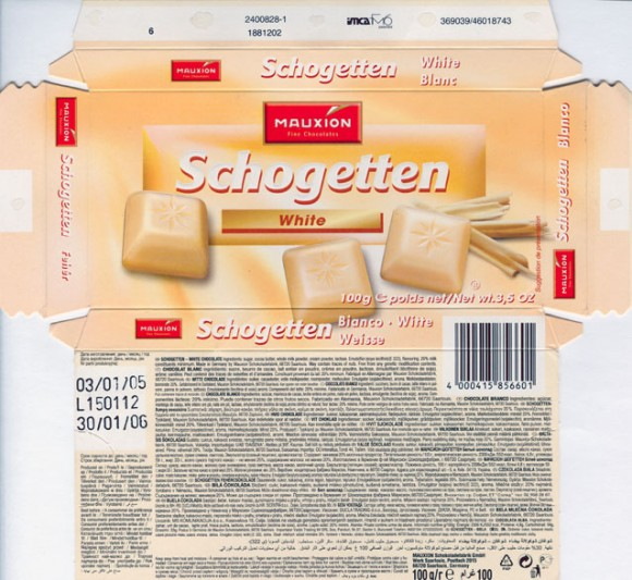 Schogetten, white chocolate, 100g,03.01.2005, Mauxion, Saarlouis, Germany