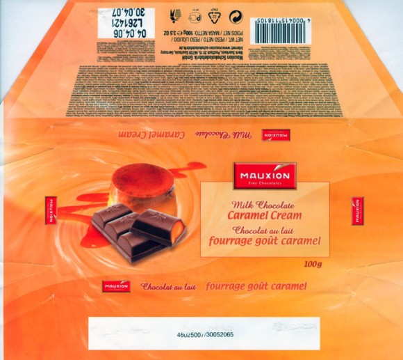 Milk chocolate with caramel cream filling, 100g, 04.04.2006, Mauxion Schokoladefabrik GmbH, Saarlouis, Germany