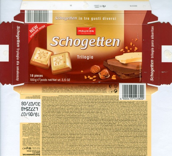 Schogetten, trilogia, white chocolate with hazelnut brittle on Gianduja hazelnut milk chocolate and milk chocolate, 100g, 19.06.2007, Mauxion Schokoladefabrik GmbH, Saarlouis, Germany