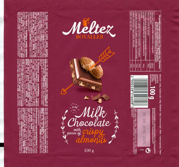 Meltez Royaller, milk chocolate with crispy almonds, 100g, 05.09.2015, Made in Poland for Maxima, UAB