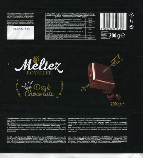 Meltez Royaller, dark chocolate, 200g, 28.07.2016, Made in Poland for Maxima, UAB