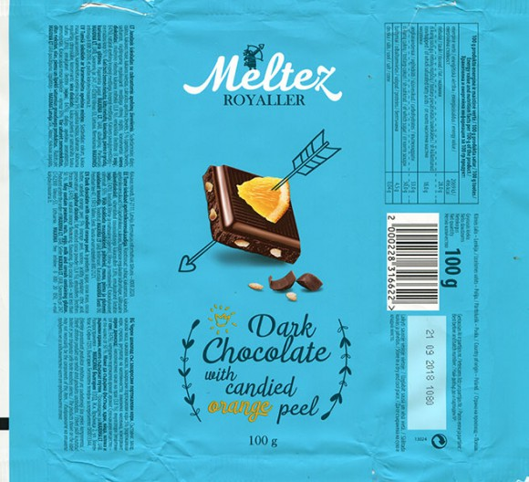 Dark chocolate with candied orange peel, 100g, 21.09.2017, Made in Poland for Maxima, UAB