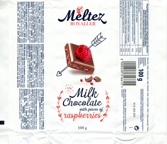Milk chocolate with pieces of raspberries, 100g, 18.01.2017, Made in Poland for Maxima, UAB